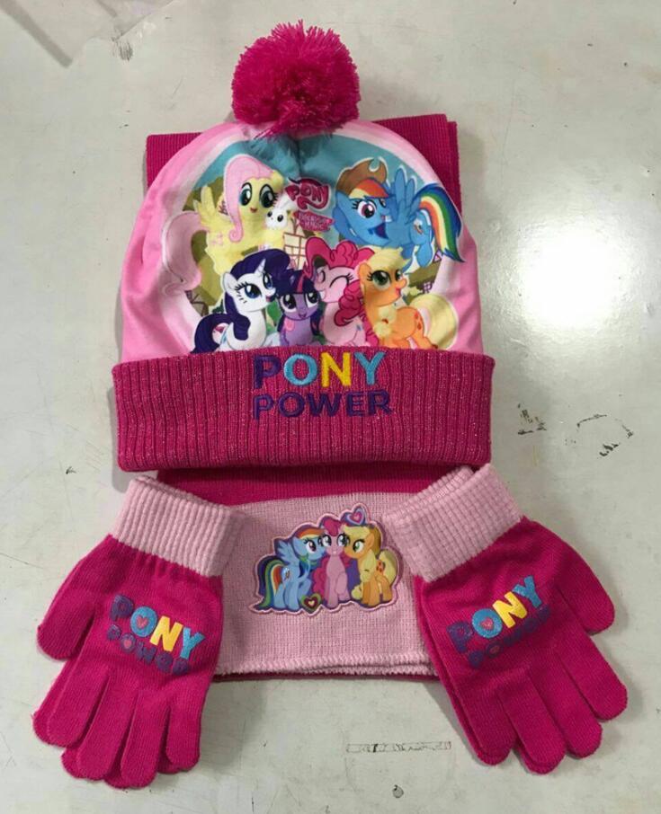 1 set cartoon Knitted crochet Hat + scarf + gloves Children Hat Set Christmas New Year Gift SM838