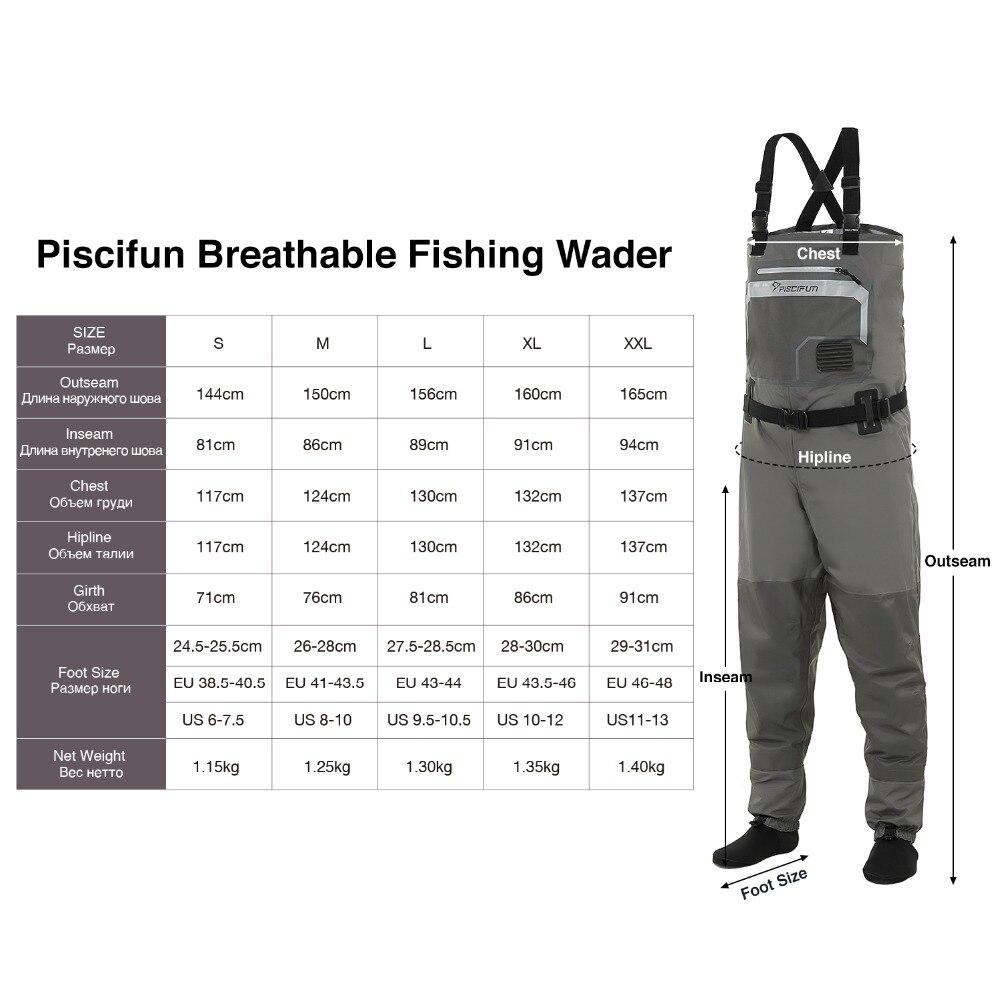 Piscifun 3 couches Polyester respirant imperméable bas pied mouche pêche poitrine cuissardes pantalon pour hommes et femmes avec coque de téléphone - 6