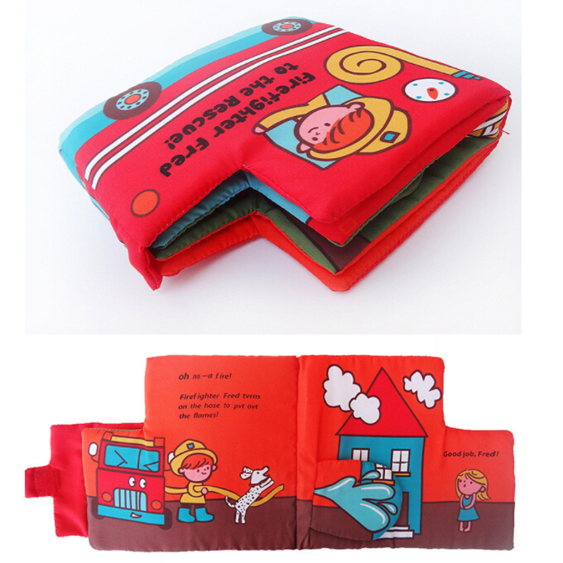Soft Cloth Books 3D Fire Fighting Truck Sound Infant Educational Stroller Rattle Toys For Newborn Baby 0-12 Month