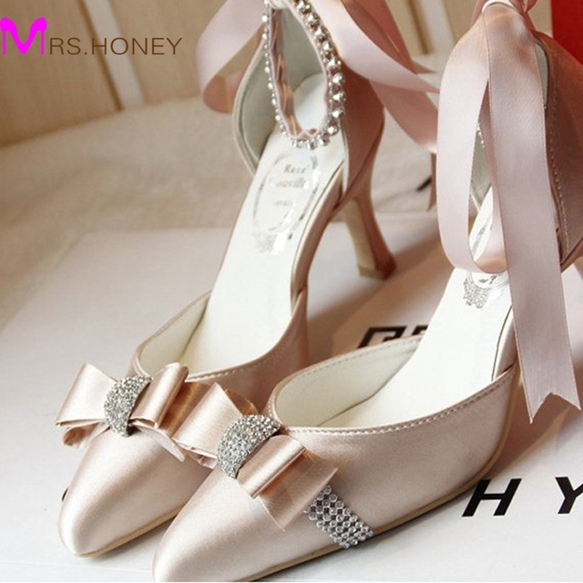 Custom Made Elegant Bridal Wedding Shoes Satin Champagne Color Middle Heel Pointed Toe Women Rhinestone Strap