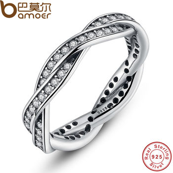 925 Sterling Silver Clear CZ Authentic Twist Of Fate Stackable Twisted Ring