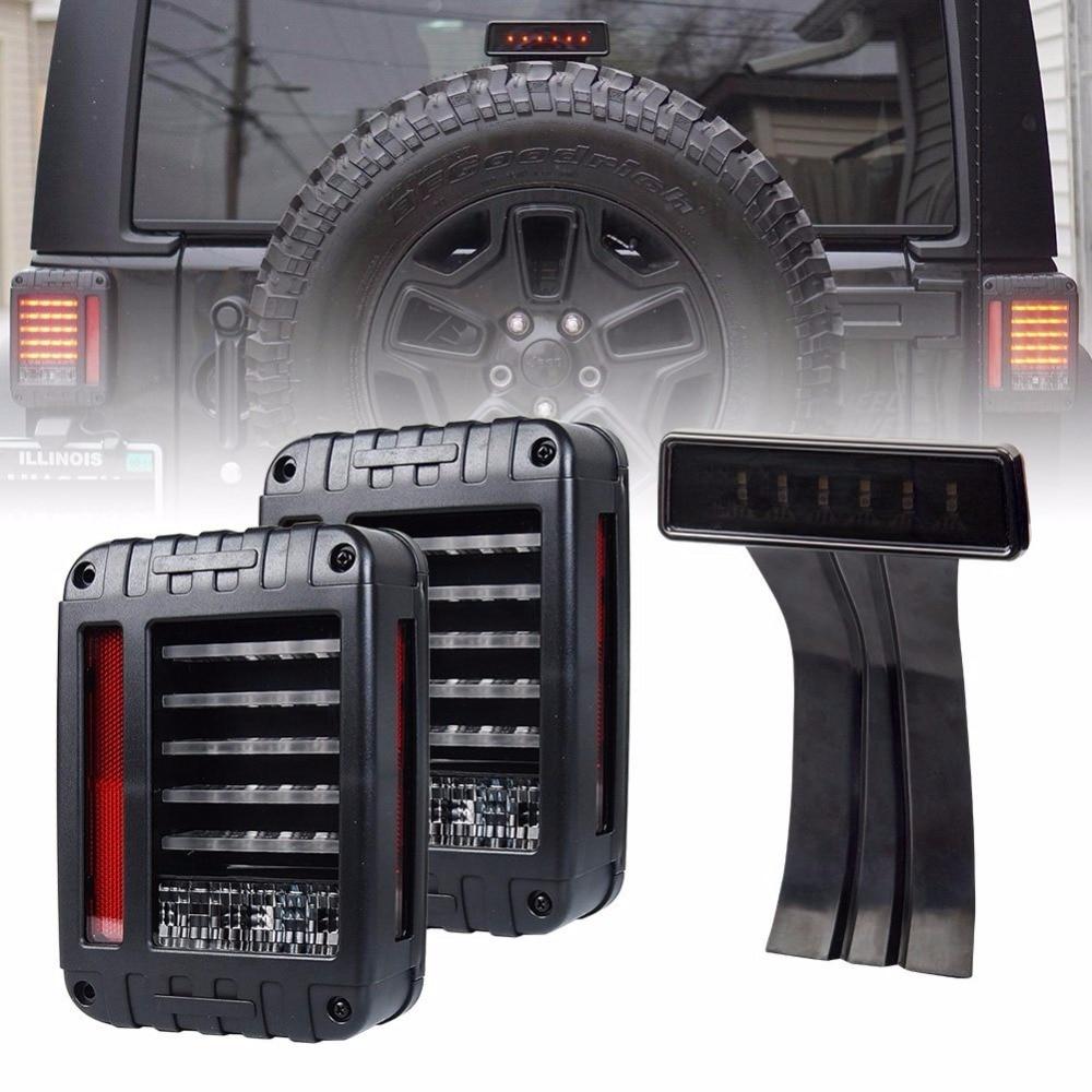 Wrangler JK светодиодные задние свет + объектив дым в-третьих Высокая стоп для 2007 2008 2009 2010 2011 2012 2013 2014 2015 2016 Jeep