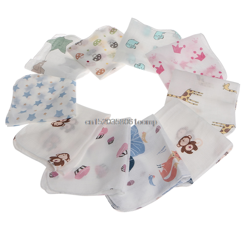 10pcs Baby Infant Towel 28*28cm Muslin Towel Handkerchiefs Two Layers Wipe Towel New #K4UE# Drop Ship