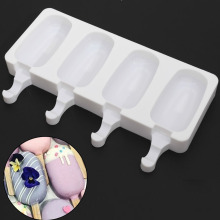 4 Cavities DIY Silicone Freezer Ice Cream Mold Pop Lolly Tray Ice Cube maker Tool candy bar Making Juice Popsicle Molds Stickers