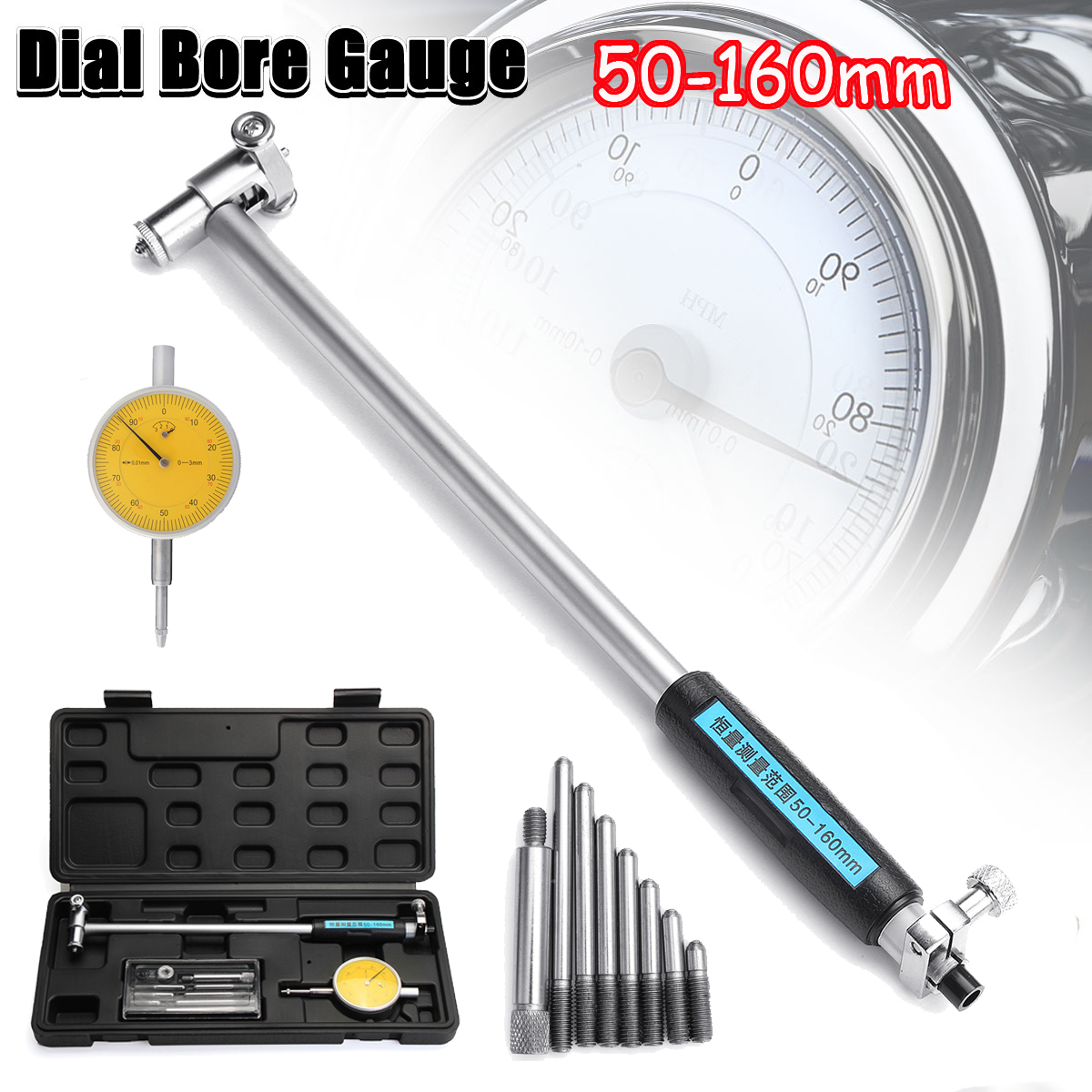 цены 50mm-160mm 0.01mm Digital Dial Indicator Bore Gauge Hole Diameter Engine Cylinder Measure Gauge Measuring Tool
