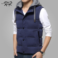 Brand Clothing  Men's Vest Spring Jacket Men Sleeveless veste homme Fashion Casual Coats Male Hooded Cotton-Padd Thick waistcoat