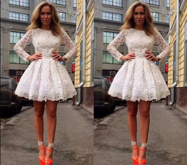 d30cee580f 2017 Newest Long Sleeve Lace Homecoming Dresses Elegan Mini Short 8th Grade Graduation  Party Dresses Sweet 16 Dresses Vestido De