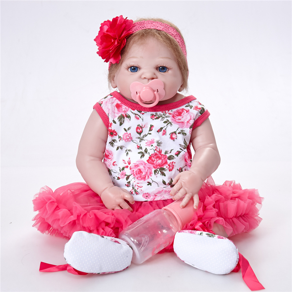 все цены на 55CM Full Silicone Dolls Reborn Full Vinyl Body Boneca BeBe Reborn Doll With Princess Dress SF5523 Toys for Children Baby Doll онлайн