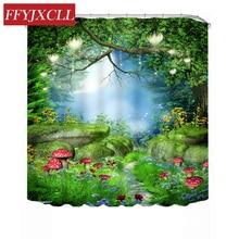 цена на Dream Forest Road Printing Shower Curtain Polyester Waterproof Mildew Bathroom Curtain Custom Made