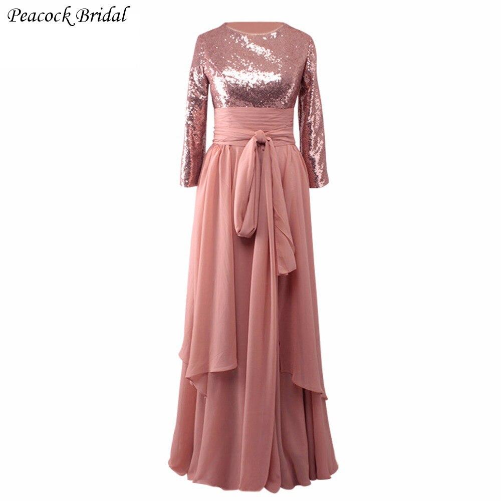 Peacock Rose Gold Sequins Chiffon Long Sleeve Prom Dress Custom Made ...