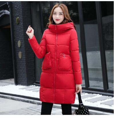 Cotton women in the long section of the Korean version of the new women's winter cotton jacket loose large size of the package s sky blue cloud removable hat in the long section of cotton clothing 2017 winter new woman