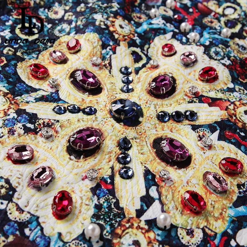 LD LINDA DELLA Summer Short Skirts Women's Luxury Crystal Diamonds Vintage Printed Mini Skirt