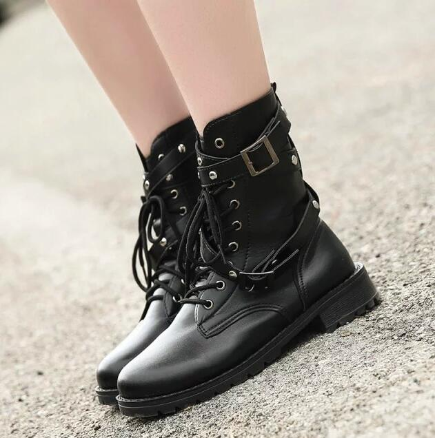 Image 3 - SWYIVY 2019 Motorcycle Boots Ladies Vintage Combat Autumn Boots Army Punk Goth women boots Women Biker PU Leather Short BootsMid-Calf Boots   -
