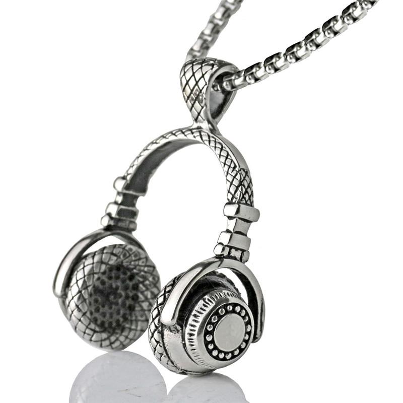 Zene DJ fejhallgató medál nyakláncok rozsdamentes acél lánc férfiak nők hip-hop ékszerek rock fülhallgató nyaklánc zene szerelmesei ajándék