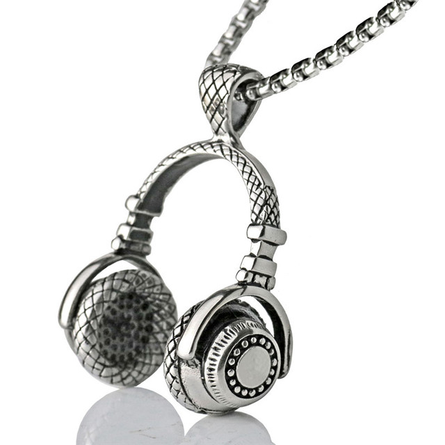 Music dj headphone pendant necklaces stainless steel chain men women music dj headphone pendant necklaces stainless steel chain men women hip hop jewelry rock headset necklace aloadofball Gallery