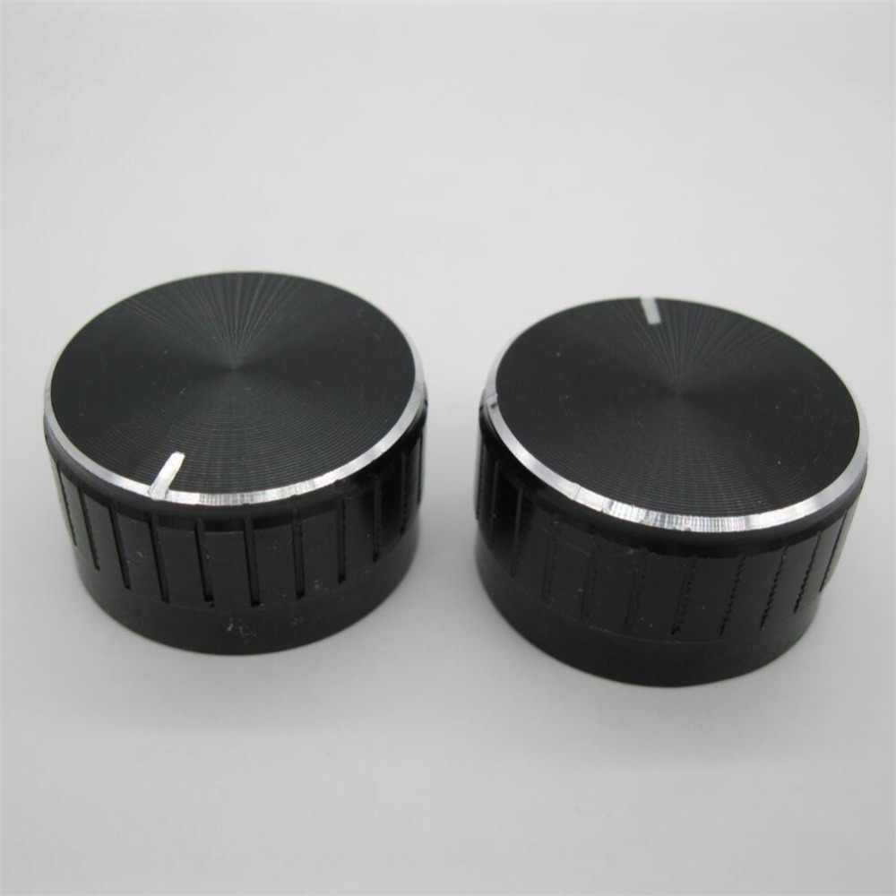 Perilla potenciómetro Negro 30 X 17mm Eje De Aluminio Moleteado Olla 6 mm Tapas de control