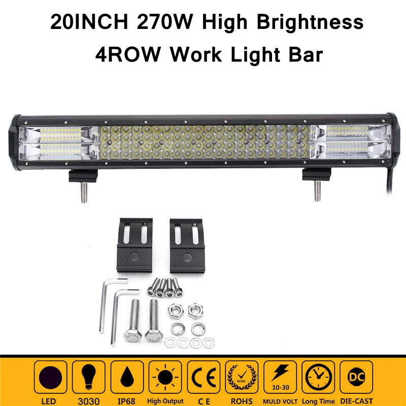 High Power 4 Row 20inch 128LED 270W LED Work Light Bar Offroad 4x4 Driving Lamp Combo Beam for Jeep Truck Car-Styling Light Bar 1pcs 120w 12 12v 24v led light bar spot flood combo beam led work light offroad led driving lamp for suv atv utv wagon 4wd 4x4