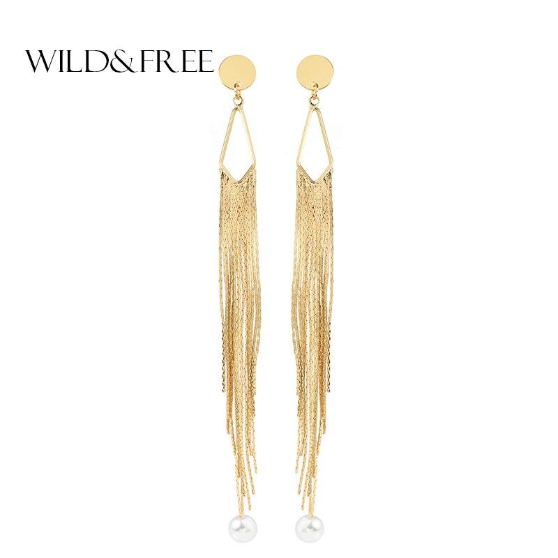Wild&Free 2018 New Gold Color Long Metal Tassel Drop Earrings European Punk Imitation Pearl Copper Earrings Fashion Jewelry Gift