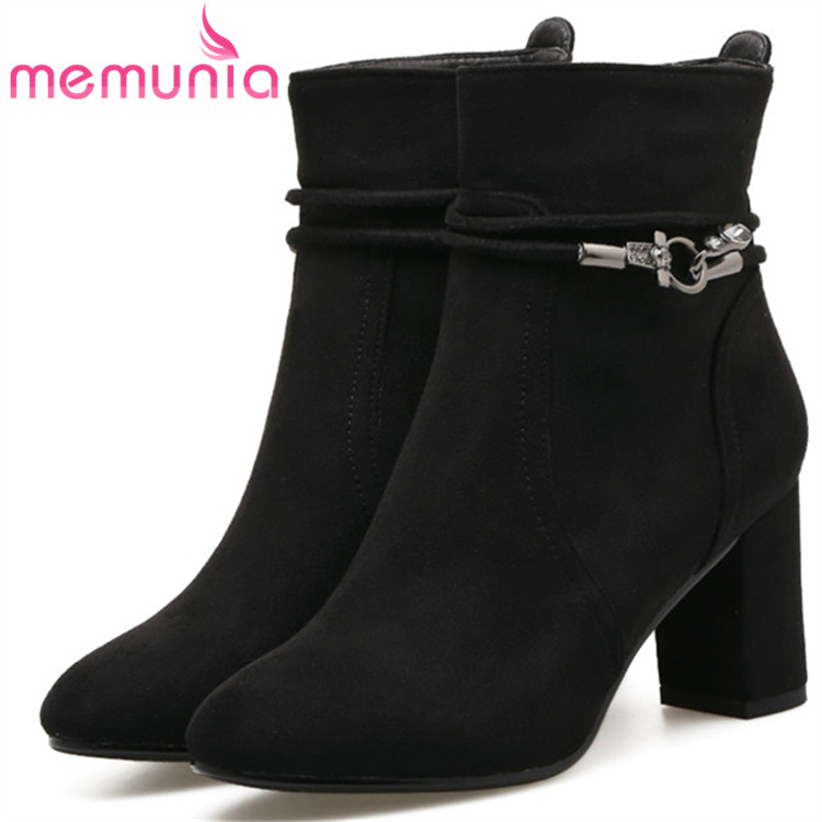 MEMUNIA PU soft leather ankle boots fashion shoes woman high heels boots zip solid womens boots female large size 34-41 memunia fashion boots female high heels shoes woman in spring autumn ankle boots for women pu zip solid big size 34 41
