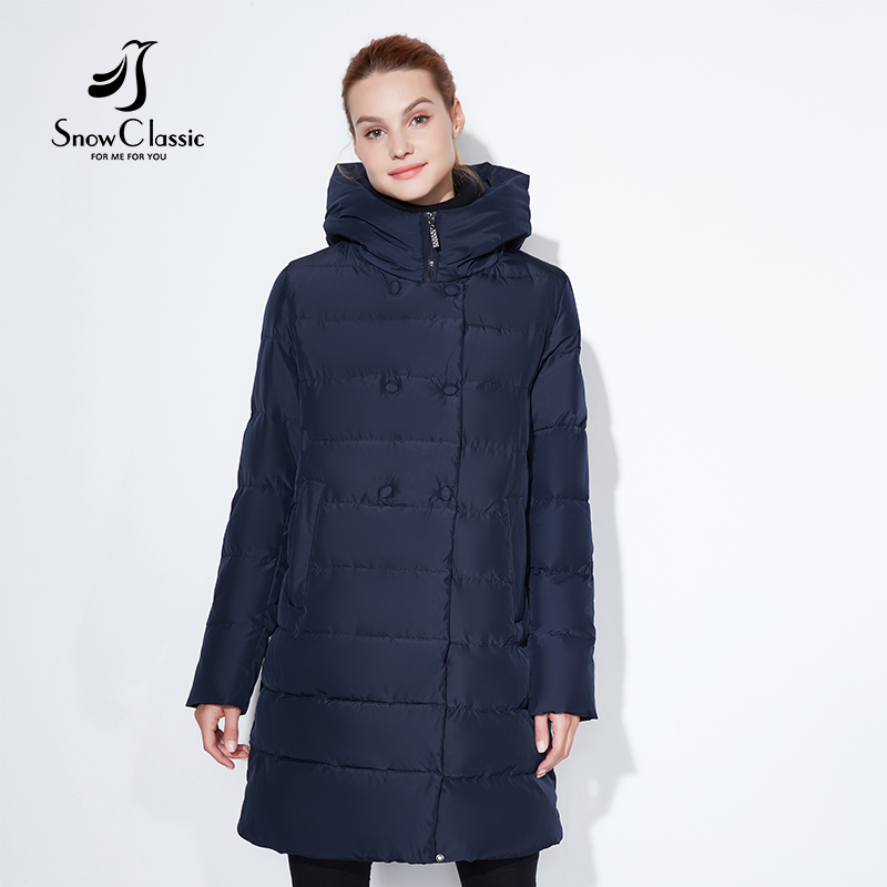 Snowclassic Fashionable winter jacket lady thick long coat button decoration hat DuPont biological cashmere warm wind Large size