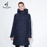 Snowclassic Modna kurtka zimowa lady gruby długi płaszcz przycisk dekoracji kapelusz DuPont biologicznej kaszmiru ciepły wiatr Duży rozmiar