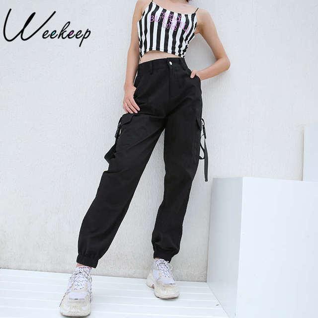 Weekeep 黒ハイウエストカーゴパンツ女性ポケットパッチワークルースストリートペンシルパンツ 2018 ファッションヒップホップ女性のズボン