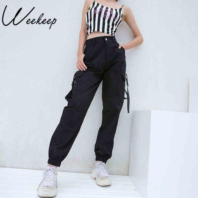Weekeep/черные женские брюки-карго с высокой талией, с карманами, в стиле пэчворк, свободные, уличная одежда, брюки-карандаш, 2018, модные, в стиле хип-хоп, женские брюки