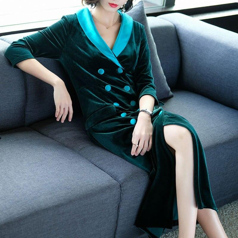 Boutonnage V Nouveau Printemps Vente Manches Robe Couleurs De Solide Vintage Mode Cne Longue À 1 2 Chaude Double Col Velours 2018 Longues Femmes Or Yqzf6pY