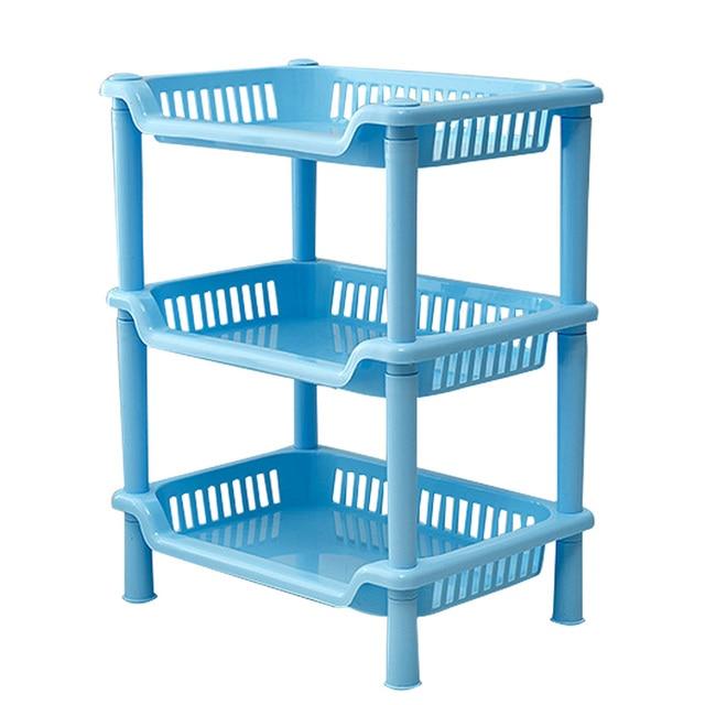 1 Piece Holder Organizer Blue Green Plastic Storage Rack Kitchen Bathroom Multilayer Shelves