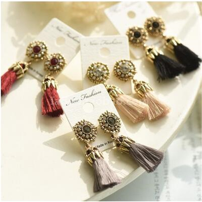 Retro palace wind Baroque ornaments hollow fringed ear nail accessories earrings Alloy for women fashion gift shopping party