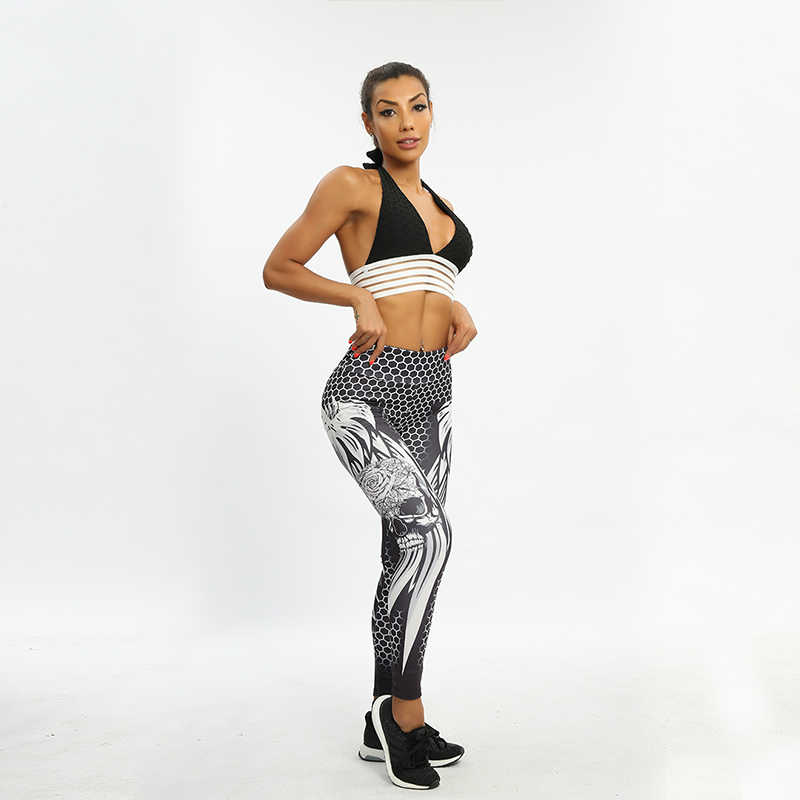 b13002d0675ff ... SVOKOR High Waist Women Leggings Skull New Solid Color Sexy Fitness Print  Pants Honeycomb Wings Polyester