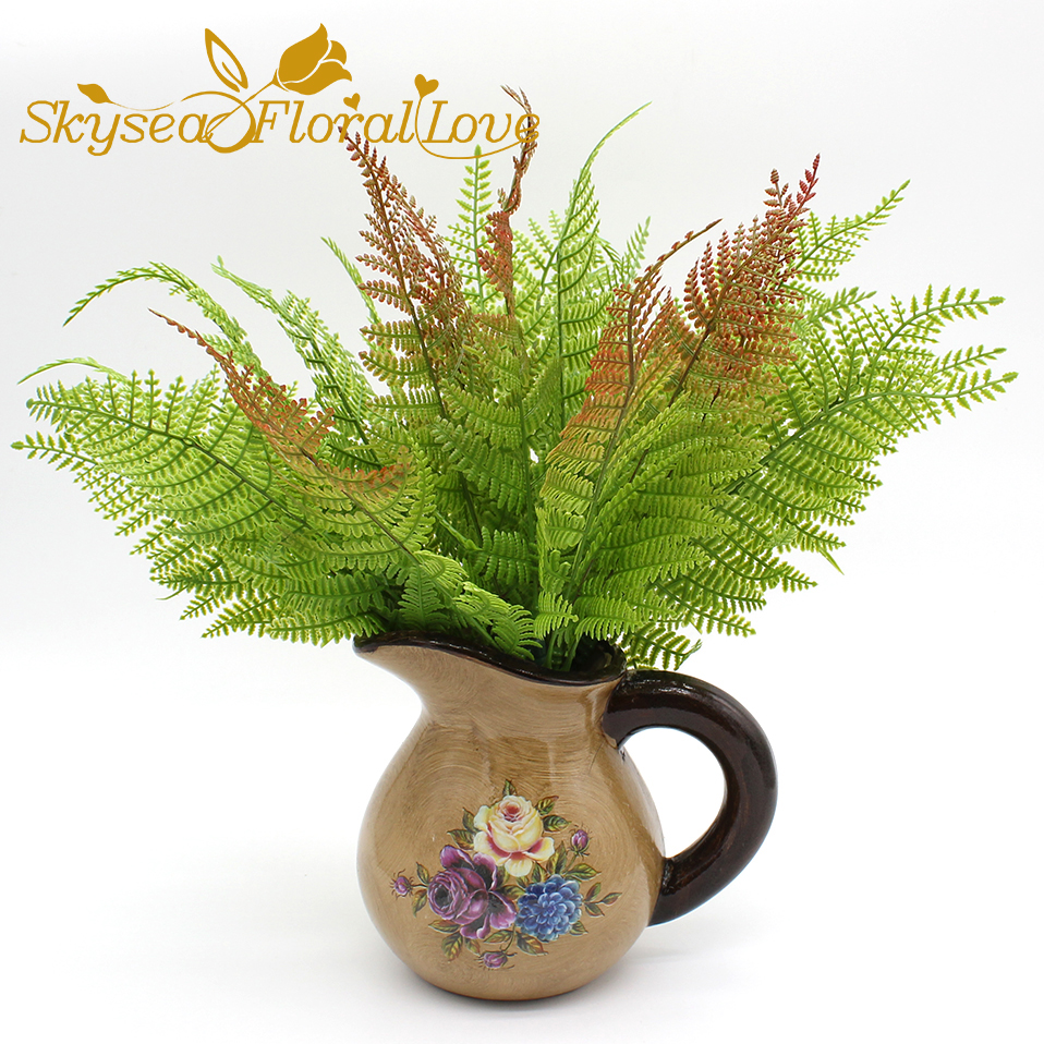 artificial ferns 7 persian grass plant fleshy potted plant wall