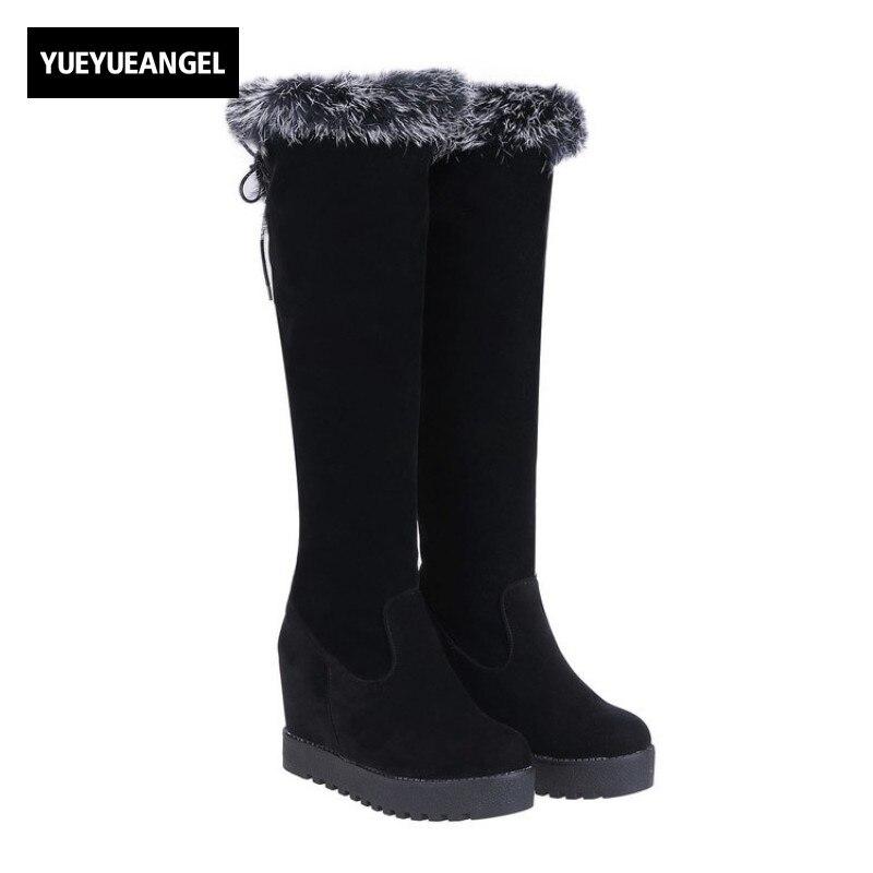 где купить Black Knee High Boots Womens Winter Warm Fur Trim Vintage Kar Botu Lace Up New Faux Suede Top Quality Hidden Heel Botas Feminina по лучшей цене