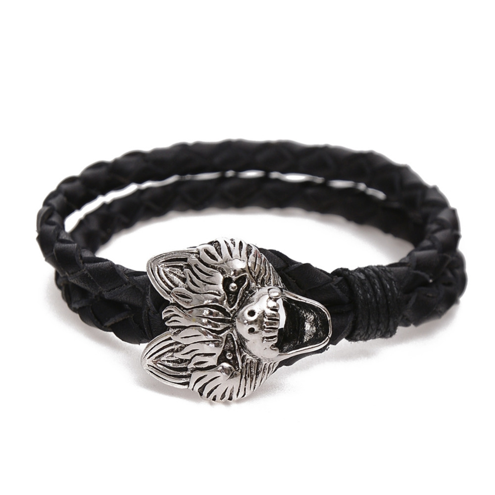 Wholesale Braided Genuine Leather Punk Rock Skull Head Bracelet Bangle Wristband For Men Gift 2017 10 Style New