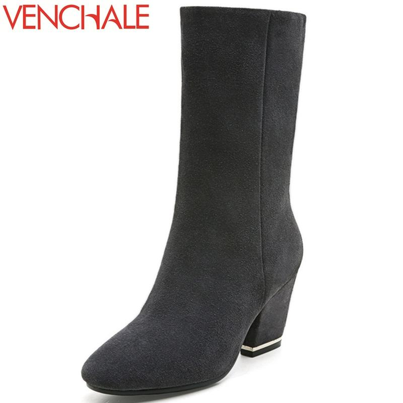VENCHALE winter mid-calf boots trendsetter necessary fashion trend 7.5cm heels elegant solid flock round toe women boots shoes double buckle cross straps mid calf boots
