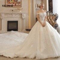 Royal luxury trian Spring off shoulder wedding ball dress appliques Wedding party gowns lace up Vestidos de festa Bride dresses