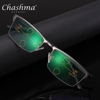 f10d890086 2019 acetato calidad Multifocal lentes gafas de lectura de los hombres de  moda mitad Rim progresiva gafas Plaza dioptrías gafas