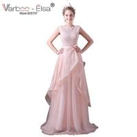 VARBOO_ELSAピンクレース甘いウエディングドレス2017エレガント弓ベルト長いイブニングドレスプリンセスパーティードレスv-バック帰郷ドレス