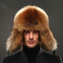 IANLAN Mens Full-pelt Blue Fox Fur Bomber Hats Real Raccoon Fur Earmuffs Hats Winter Outdoor Real Sheep Leather Caps IL00238 new unisex hot winter women girl children adult real fox fur genuine leather raccoon bomber ear warm character bomber hats caps