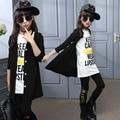 2017 весной и осенью бренд дети комплект одежды девушки из трех частей малышей хлопка костюм 10-16 летняя девочка пальто брюки набор детей топ