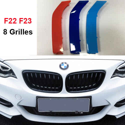 3D color Front Grille Trim Strips grill Cover Stickers for 2014-2017 BMW 2 series coupe Convertible F22 F23 (8 grill) stainless steel front bottom center grille grill mesh cover trims for nissan altima teana 2013 2014