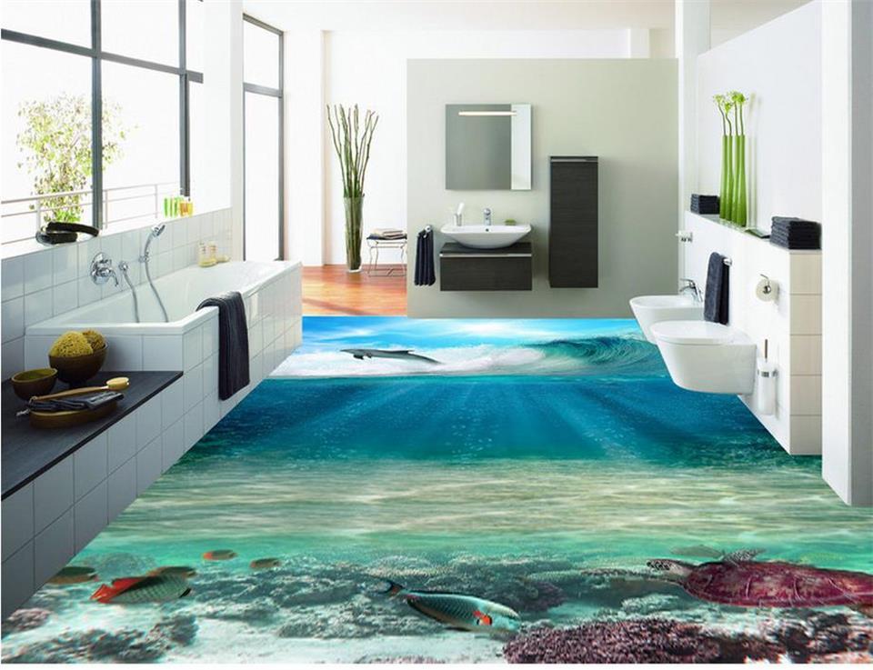 ФОТО flooring wallpaper custom 3d photo room mural ocean world 3d photo HD painting floor PVC wallpaper self-adhesive floor wallpaper