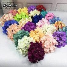 Kyunovia 50 PCS Hydrangea flor heads Flores Do Casamento Buquê de Noiva Do Casamento do jardim decoração falso flores de parede DIY D146