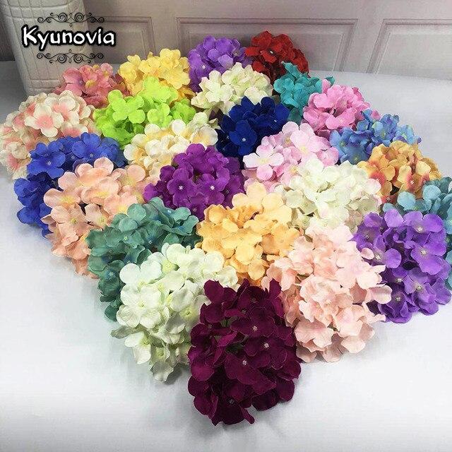 Kyunovia 50PCS Hydrangea flower heads Wedding Flowers Wedding garden decoration fake flores wall DIY Bridal Bouquet D146