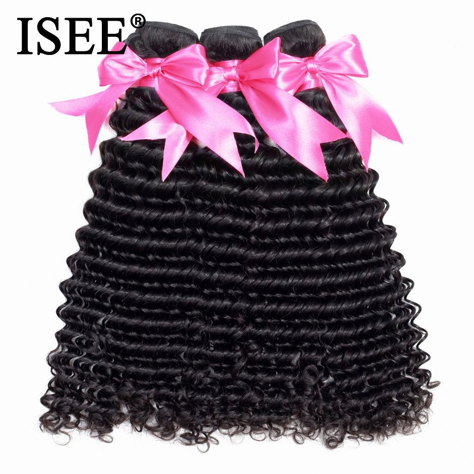 ISEE HAIR Mongolian Deep Curly Hair Extensions 100% Human Hair Bundles Free Shipping Nature Color Can Buy 1/3/4 Remy Hair Weave