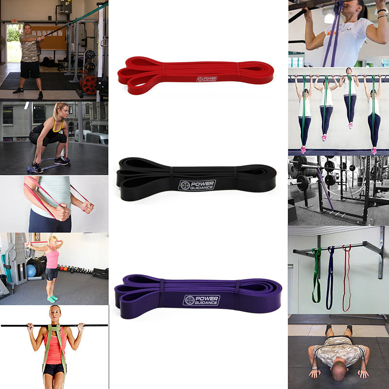 Купить с кэшбэком POWER GUIDANCE Fitness Rubber Pull Up Resistance Bands Power latex Band Loop Strap Expander Hanging workout Free Bag