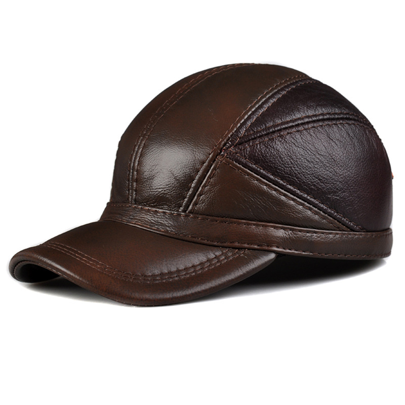 Peaked cap male head layer cowhide in autumn and winter warm outdoor leisure cap female head teachers administrative challenges in schools in kenya