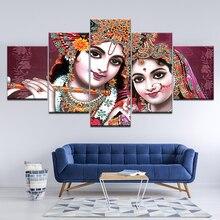 Canvas Painting Shri RADHA & KRISHNA Beautiful 5 Pieces Wall Art Painting Modular Wallpapers Poster Print living room Home Decor radha