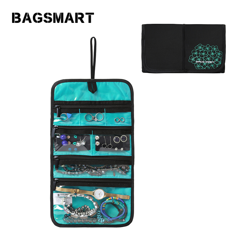 BAGSMART Jewelry Rolls Travel Jewelry Organizer Bags  Foldable Accessories Holder Necklace Bracelet Earring Ring Pouch Bag
