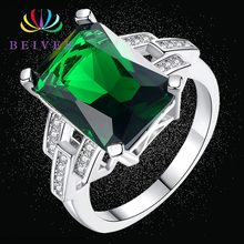 Beiver Fashion Green Zircon Wedding Rings for Women Engagement/Party Jewelry Ladies Best Gifts